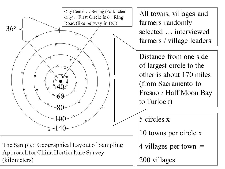 City Center … Beijing (Forbidden City ) … First Circle is 6 th Ring Road (like beltway in DC) The Sample: Geographical Layout of Sampling Approach for China Horticulture Survey (kilometers) x x x x x x x x x x x x x x x x x x x x x x x x x x x x x 36 o 40 60 80 100 140 x x x x x x x x x x x x x x x x x x x x x Distance from one side of largest circle to the other is about 170 miles (from Sacramento to Fresno / Half Moon Bay to Turlock) 5 circles x 10 towns per circle x 4 villages per town = 200 villages All towns, villages and farmers randomly selected … interviewed farmers / village leaders