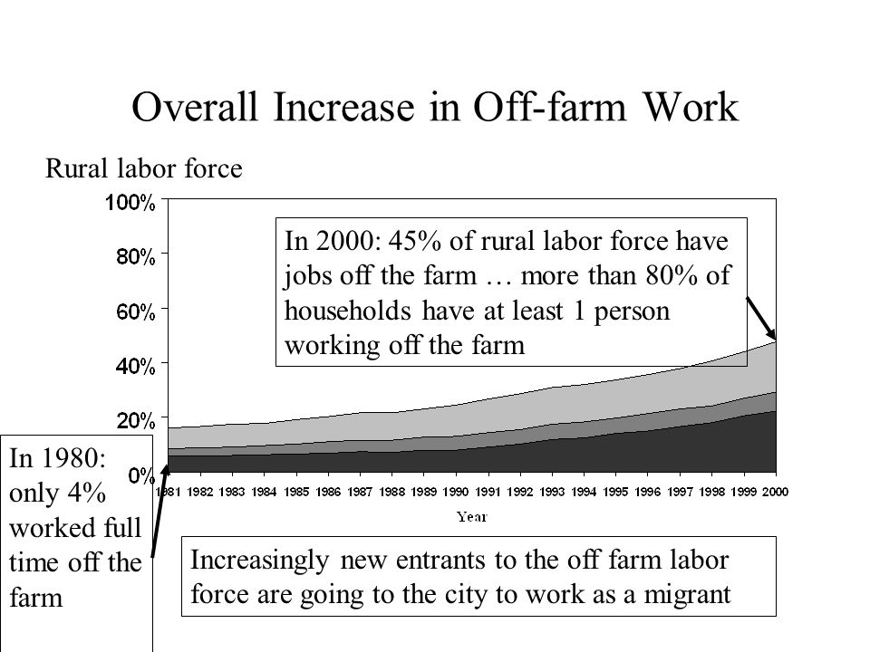 Overall Increase in Off-farm Work In 2000: 45% of rural labor force have jobs off the farm … more than 80% of households have at least 1 person working off the farm In 1980: only 4% worked full time off the farm Increasingly new entrants to the off farm labor force are going to the city to work as a migrant Rural labor force
