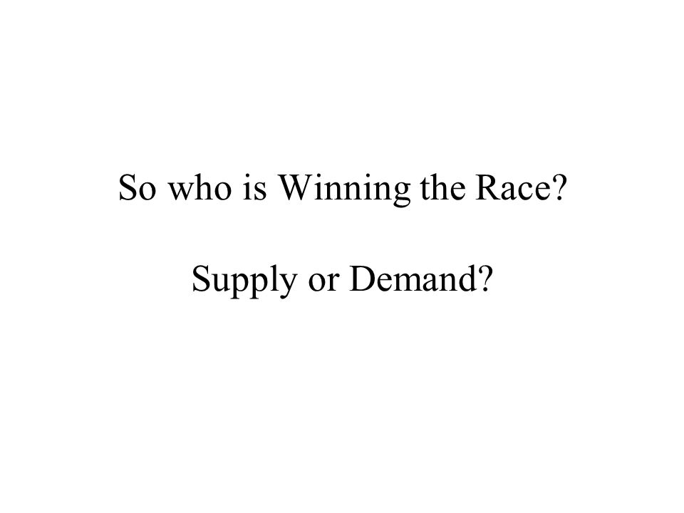 So who is Winning the Race? Supply or Demand?