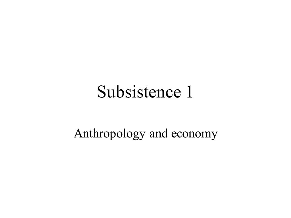 Subsistence 1 Anthropology and economy