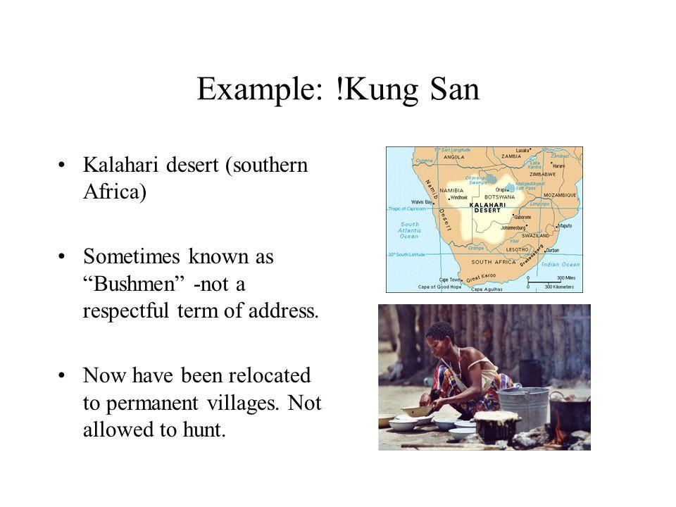 Example: !Kung San Kalahari desert (southern Africa) Sometimes known as Bushmen -not a respectful term of address.