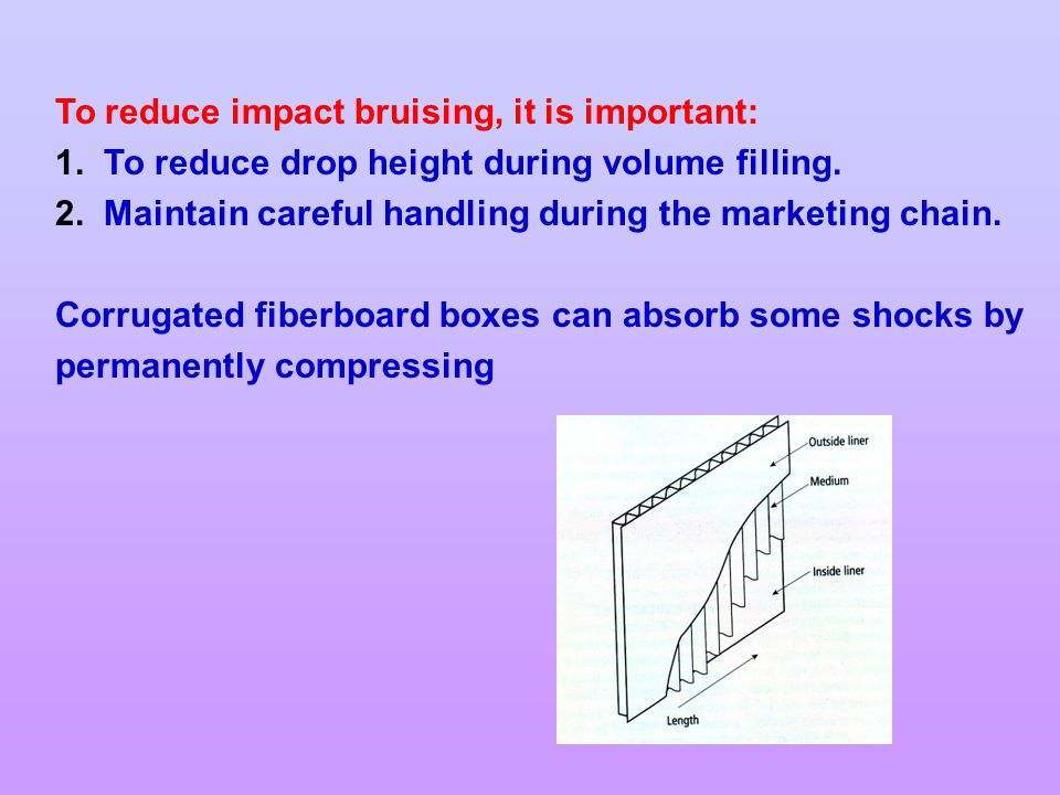 To reduce impact bruising, it is important: 1.To reduce drop height during volume filling.