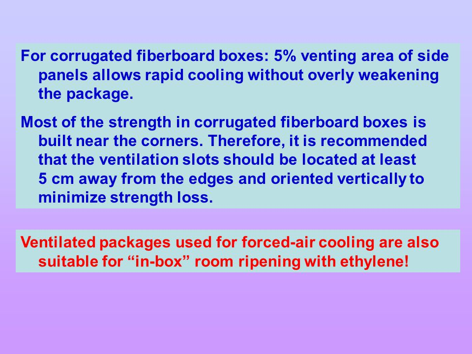 For corrugated fiberboard boxes: 5% venting area of side panels allows rapid cooling without overly weakening the package.