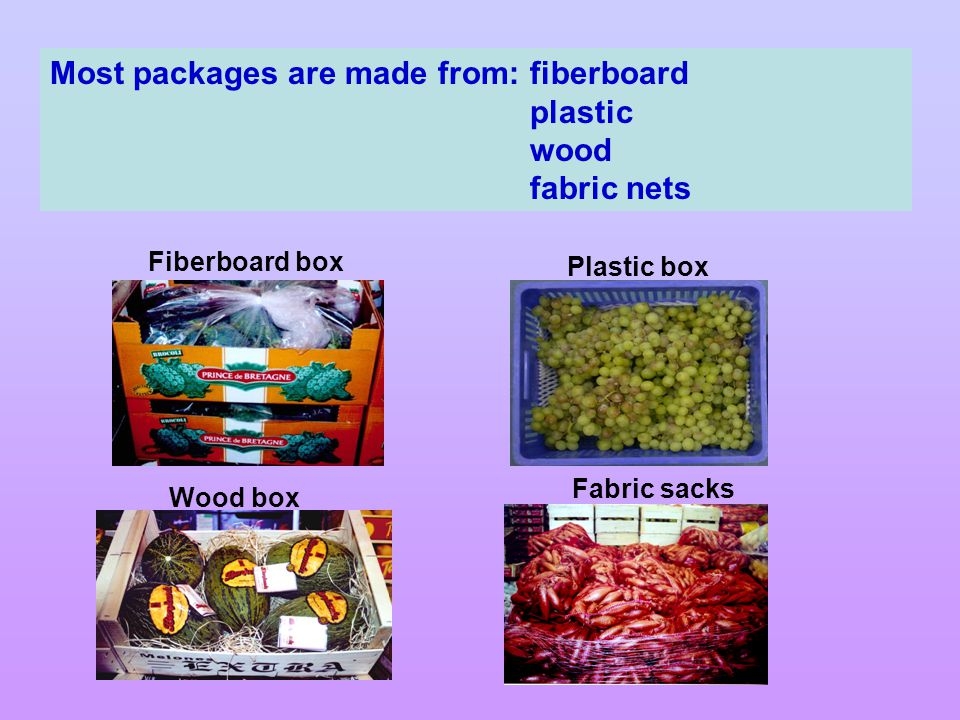 Most packages are made from:fiberboard plastic wood fabric nets Fiberboard box Wood box Fabric sacks Plastic box
