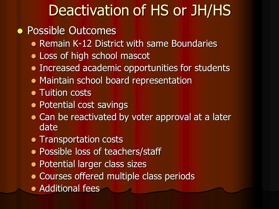 Deactivation of HS or JH/HS Possible Outcomes Possible Outcomes Remain K-12 District with same Boundaries Remain K-12 District with same Boundaries Lo