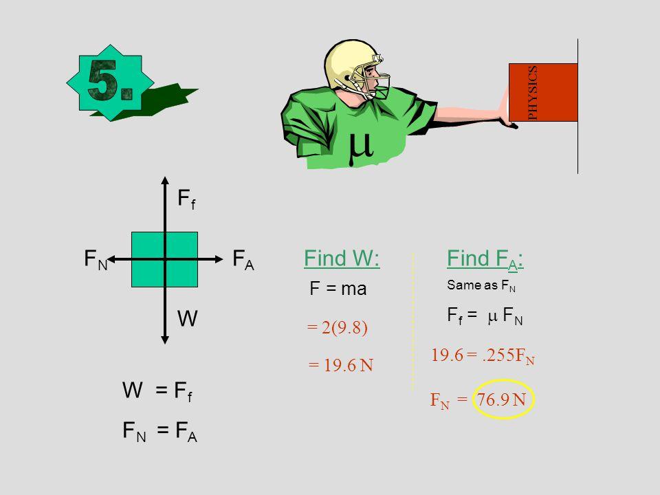 W W = F f F N = F A Find W:Find F A : Same as F N F f =  F N F = ma = 2(9.8) = 19.6 N 19.6 =.255F N FfFf FAFA FNFN F N = 76.9 N PHYSICS 