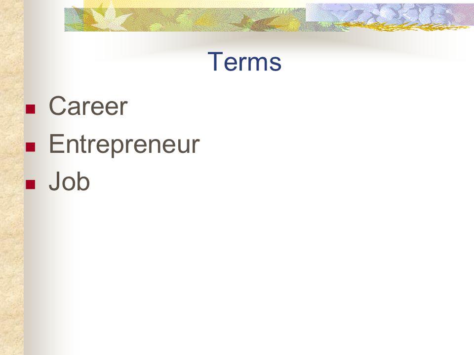 Terms Career Entrepreneur Job