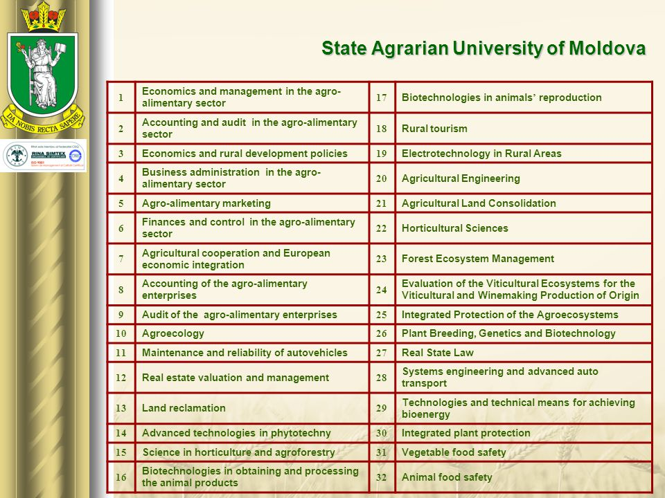 State Agrarian University of Moldova 1 Economics and management in the agro- alimentary sector 17 Biotechnologies in animals' reproduction 2 Accountin