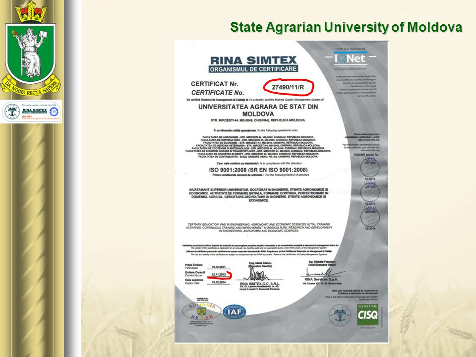  State Agrarian University of Moldova has 8 faculties, in which are study over 6000 (six thousand) students.