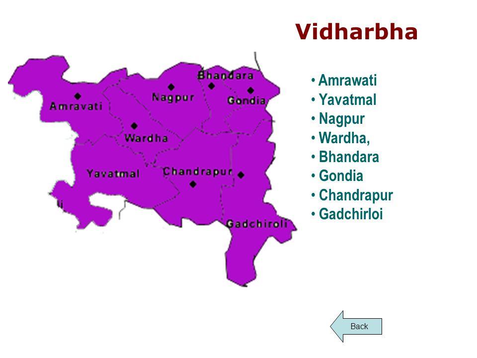 Vidharbha Amrawati Yavatmal Nagpur Wardha, Bhandara Gondia Chandrapur Gadchirloi Back