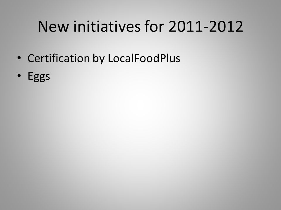 New initiatives for 2011-2012 Certification by LocalFoodPlus Eggs