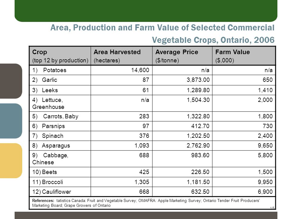 15 Area, Production and Farm Value of Selected Commercial Vegetable Crops, Ontario, 2006 Crop (top 12 by production) Area Harvested (hectares) Average Price ($/tonne) Farm Value ($,000) 1)Potatoes14,600n/a 2)Garlic873,873.00650 3)Leeks611,289.801,410 4) Lettuce, Greenhouse n/a1,504.302,000 5)Carrots, Baby2831,322.801,800 6)Parsnips97412.70730 7)Spinach3761,202.502,400 8)Asparagus1,0932,762.909,650 9)Cabbage, Chinese 688983.605,800 10)Beets425226.501,500 11)Broccoli1,3051,181.509,950 12)Cauliflower668632.506,900 References: tatistics Canada: Fruit and Vegetable Survey; OMAFRA: Apple Marketing Survey; Ontario Tender Fruit Producers Marketing Board; Grape Growers of Ontario