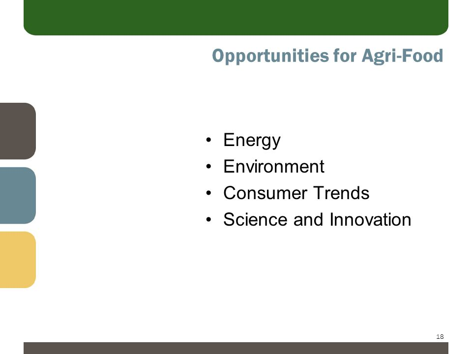 18 Opportunities for Agri-Food Energy Environment Consumer Trends Science and Innovation