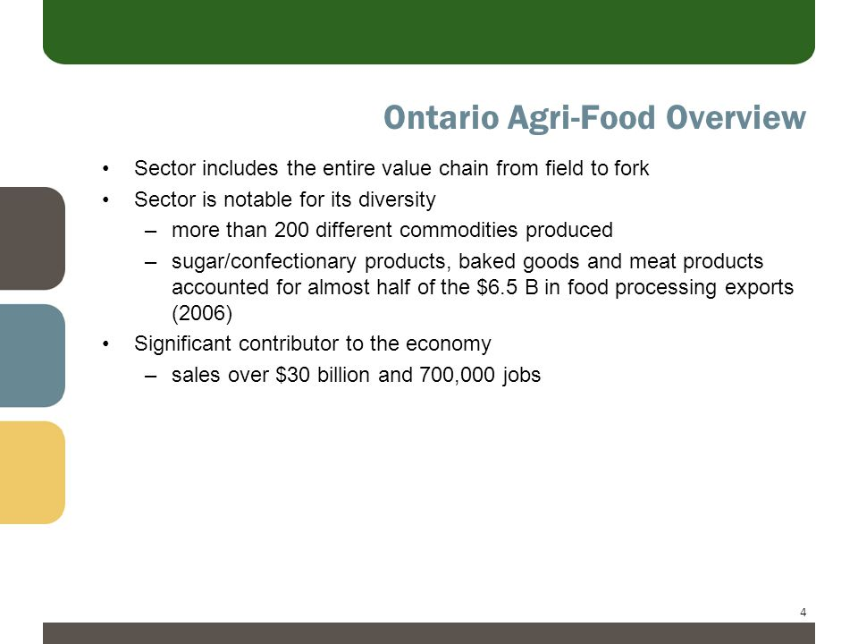 4 Ontario Agri-Food Overview Sector includes the entire value chain from field to fork Sector is notable for its diversity –more than 200 different commodities produced –sugar/confectionary products, baked goods and meat products accounted for almost half of the $6.5 B in food processing exports (2006) Significant contributor to the economy –sales over $30 billion and 700,000 jobs