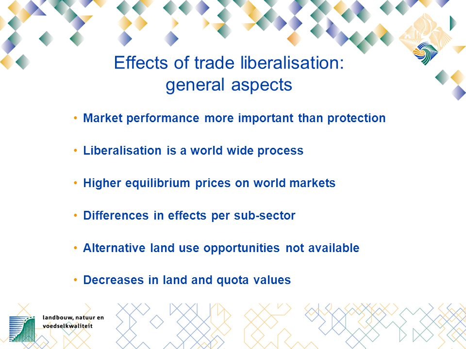 Effects of trade liberalisation: general aspects Market performance more important than protection Liberalisation is a world wide process Higher equil