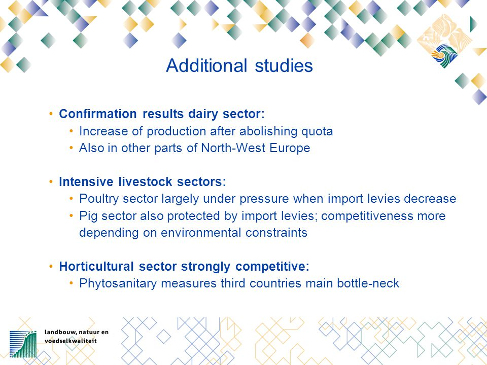 Additional studies Confirmation results dairy sector: Increase of production after abolishing quota Also in other parts of North-West Europe Intensive