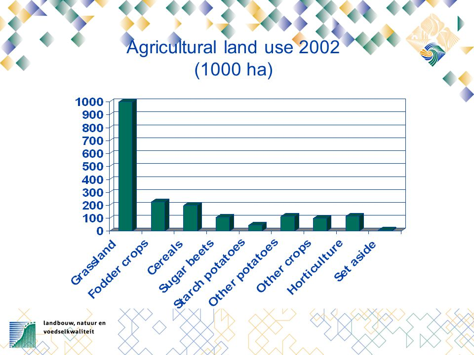 Future position Dutch agro complex Strengths Good climate and soils Close to consumer markets Network of up- and downstream sectors High knowledge level; Ability and willingness to adjust Weaknesses Land and labour expensive Environmental pressure Scaling up relatively slow Traffic congestion Cooperation in chains