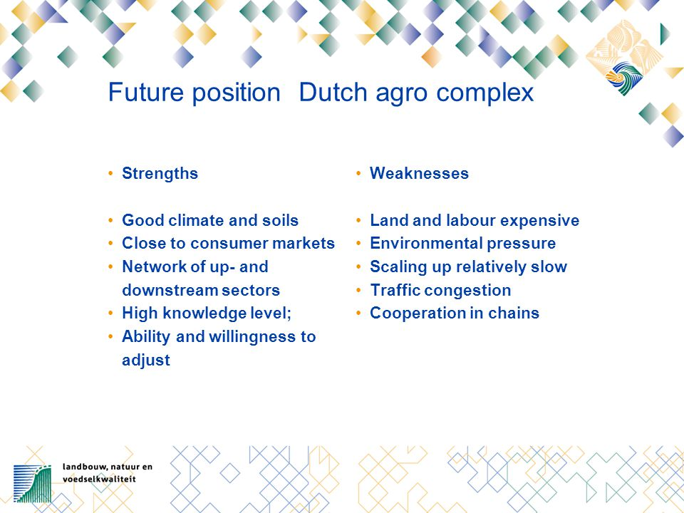 Future position Dutch agro complex Strengths Good climate and soils Close to consumer markets Network of up- and downstream sectors High knowledge lev