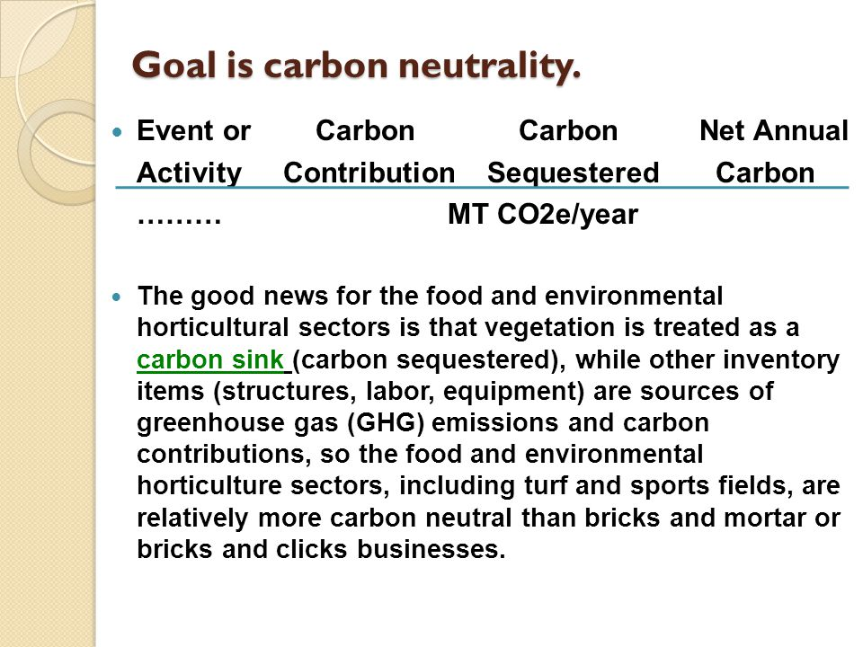 Goal is carbon neutrality.