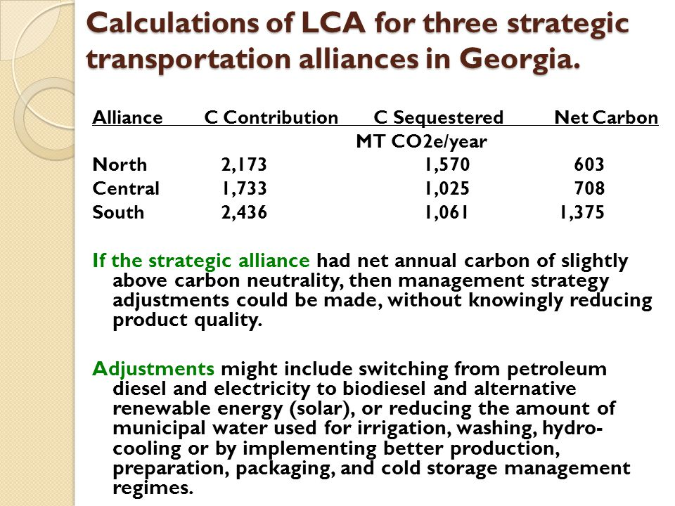 Calculations of LCA for three strategic transportation alliances in Georgia.
