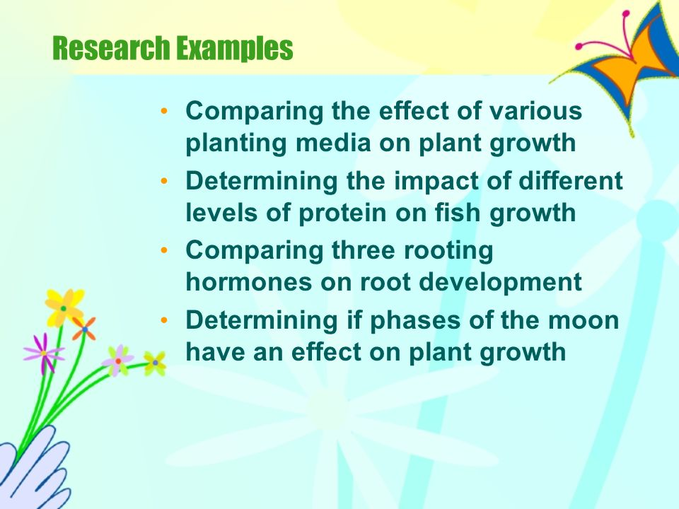 Research An extensive activity where the student plans and conducts a major agricultural experiment using the scientific process. The purpose of the e