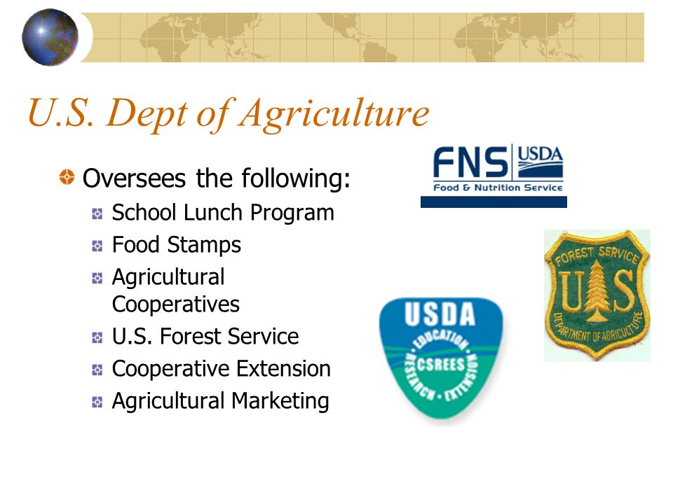 U.S. Dept of Agriculture Oversees the following: Food Safety Inspection Commodity Grading Meat Fruit Vegetables Eggs