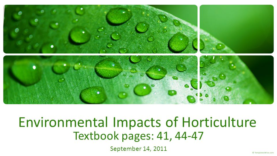 Environmental Impacts of Horticulture Textbook pages: 41, 44-47 September 14, 2011