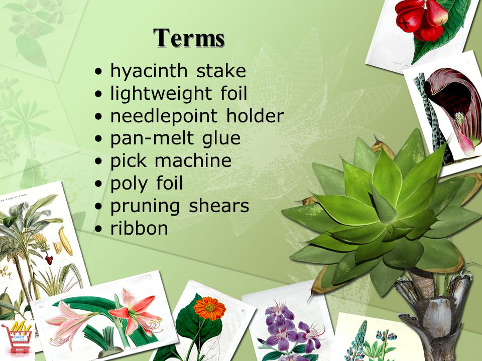What supplies are used for centerpieces, sprays, and vase arrangements.