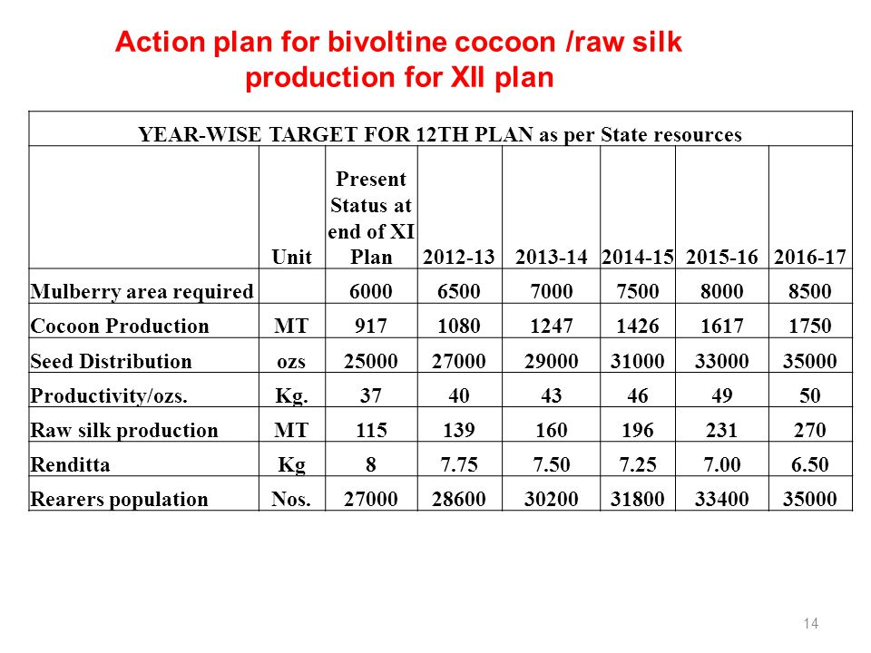 Action plan for bivoltine cocoon /raw silk production for XII plan YEAR-WISE TARGET FOR 12TH PLAN as per State resources Unit Present Status at end of