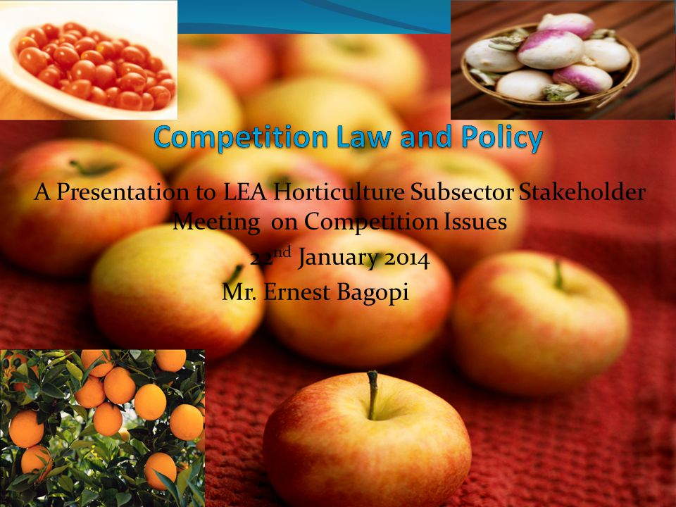 A Presentation to LEA Horticulture Subsector Stakeholder Meeting on Competition Issues 22 nd January 2014 Mr.