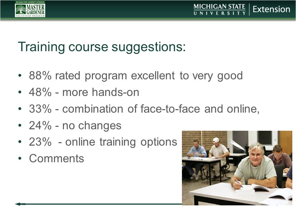 Training course suggestions: 88% rated program excellent to very good 48% - more hands-on 33% - combination of face-to-face and online, 24% - no changes 23% - online training options Comments