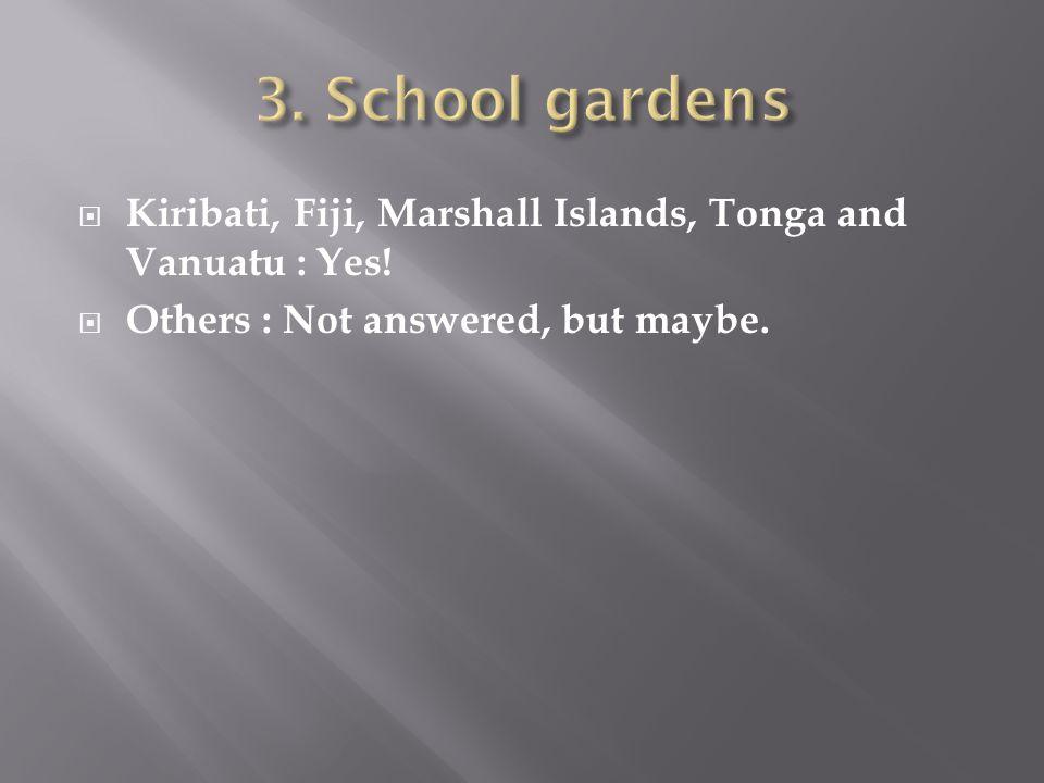  Kiribati, Fiji, Marshall Islands, Tonga and Vanuatu : Yes!  Others : Not answered, but maybe.