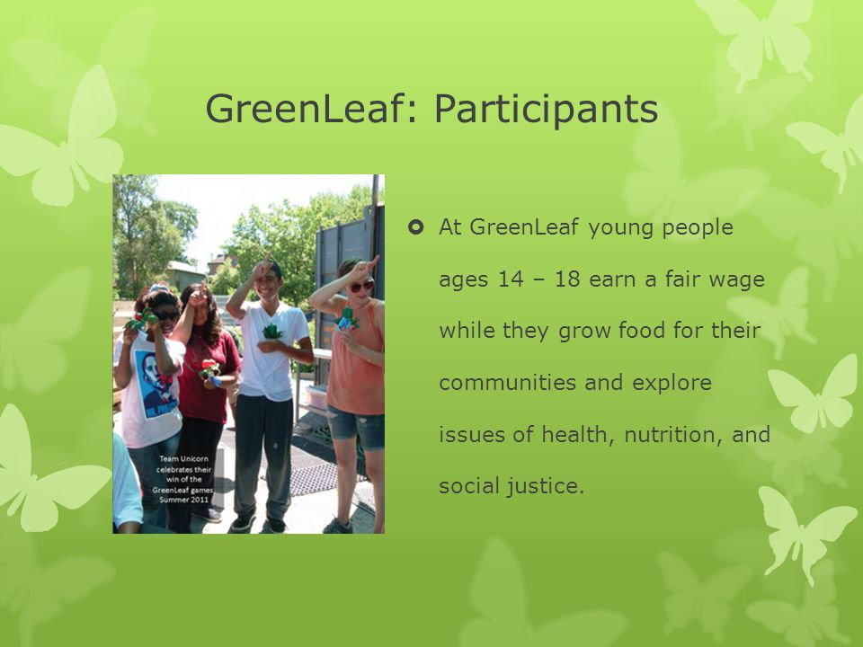GreenLeaf: Participants  At GreenLeaf young people ages 14 – 18 earn a fair wage while they grow food for their communities and explore issues of health, nutrition, and social justice.