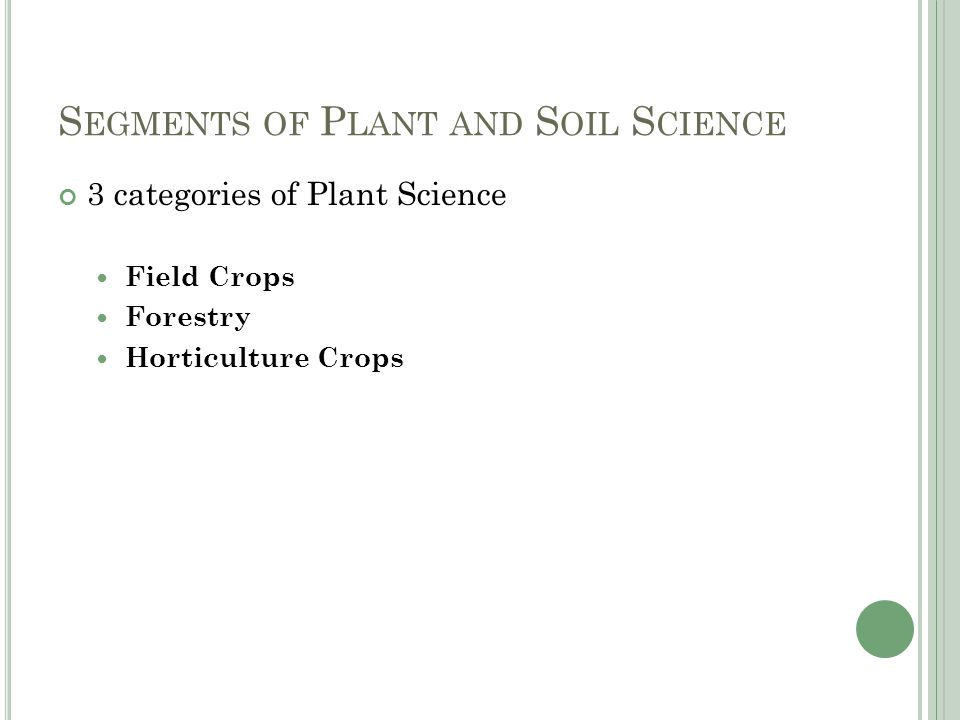 S EGMENTS OF P LANT AND S OIL S CIENCE 3 categories of Plant Science Field Crops Forestry Horticulture Crops