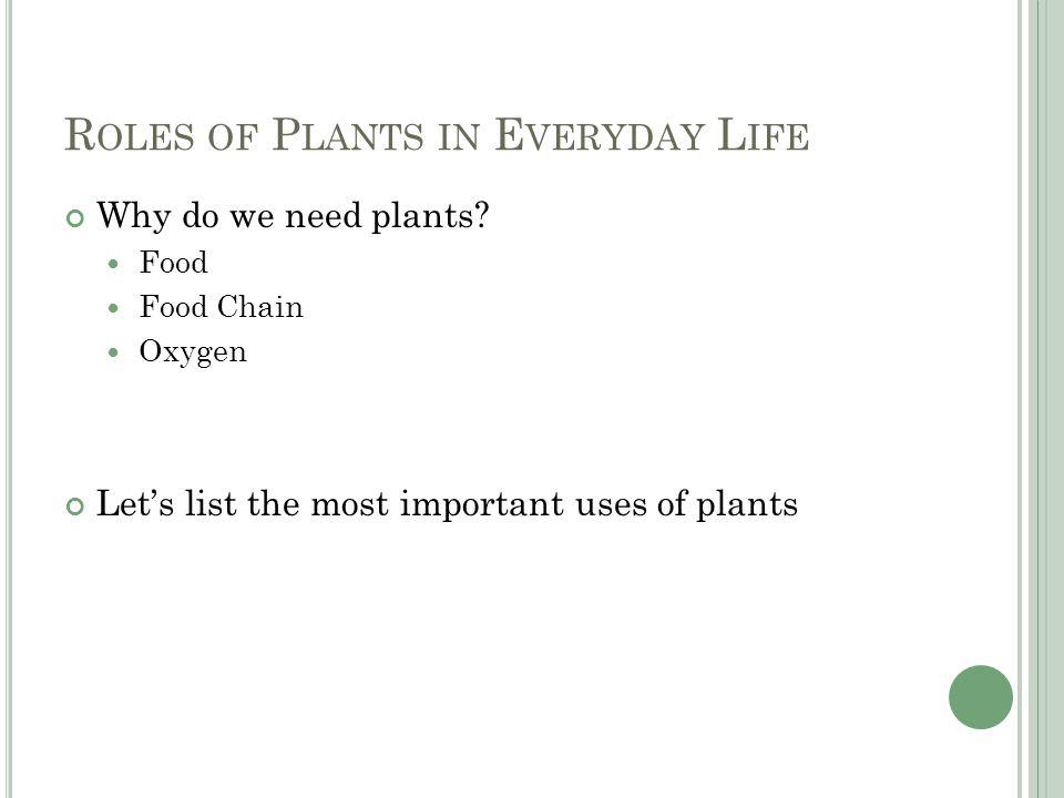 R OLES OF P LANTS IN E VERYDAY L IFE Why do we need plants.