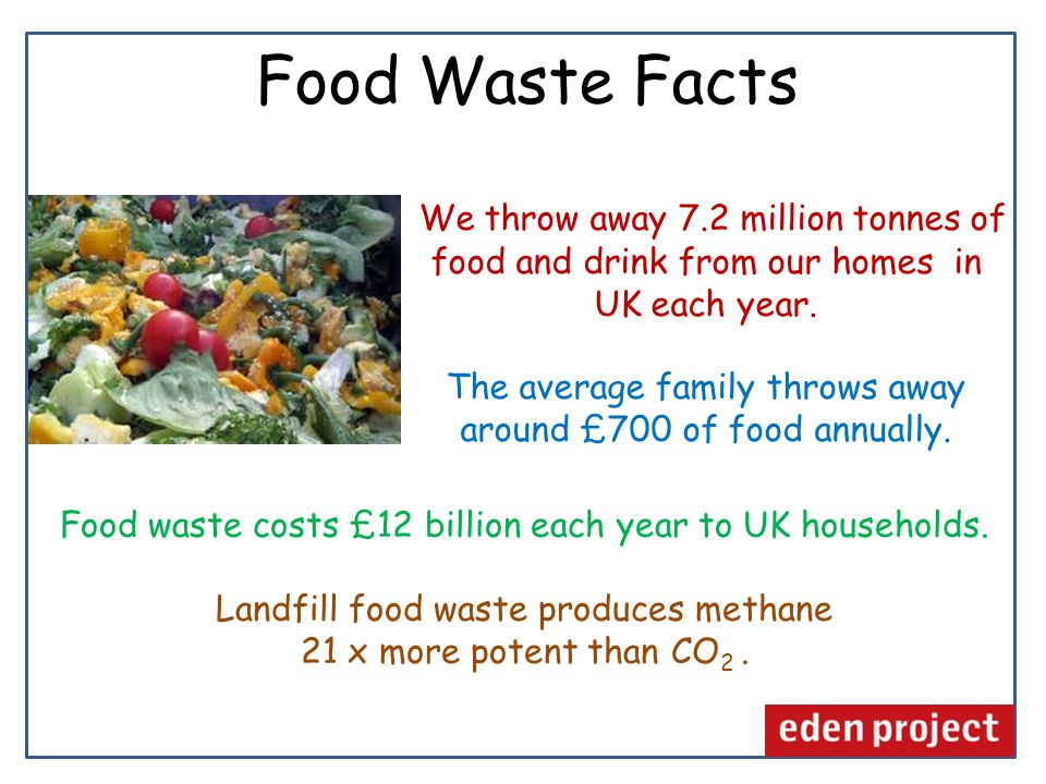 We throw away 7.2 million tonnes of food and drink from our homes in UK each year.