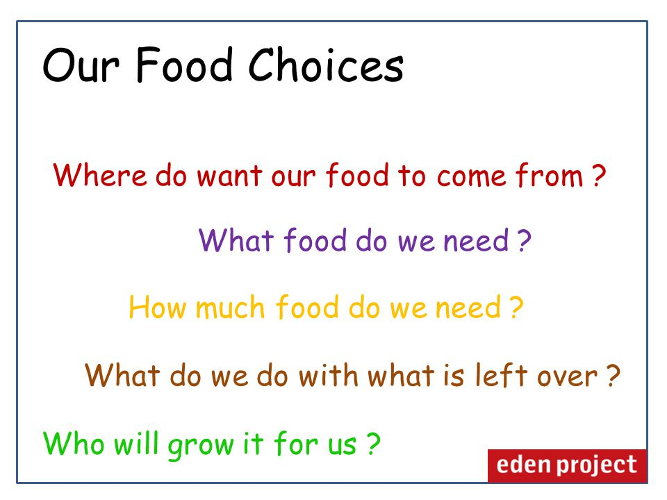 Where do want our food to come from .How much food do we need .