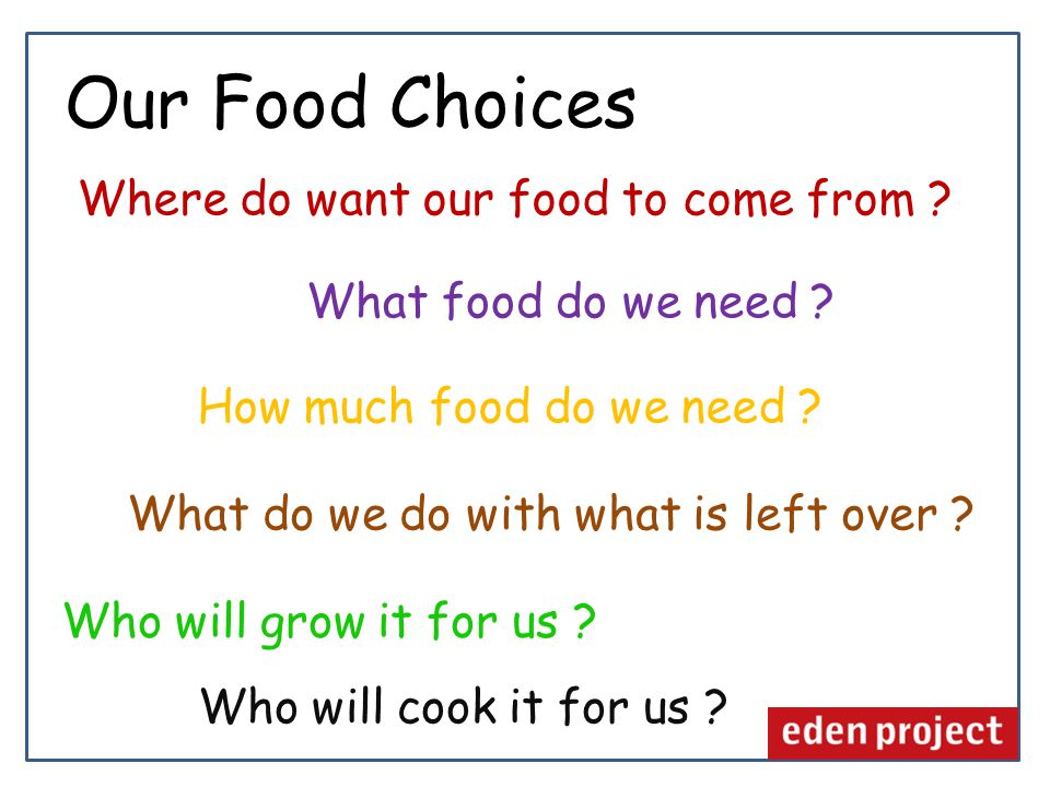 Where do want our food to come from . How much food do we need .