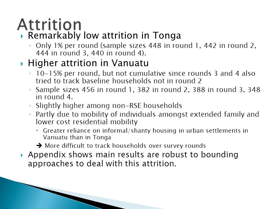  Remarkably low attrition in Tonga ◦ Only 1% per round (sample sizes 448 in round 1, 442 in round 2, 444 in round 3, 440 in round 4).