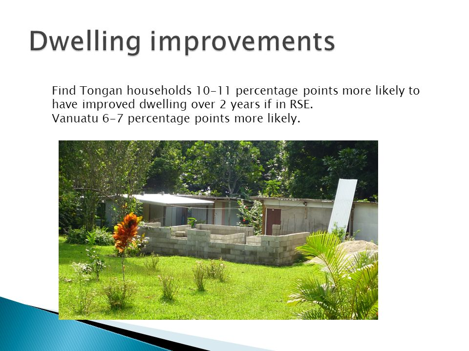 Find Tongan households 10-11 percentage points more likely to have improved dwelling over 2 years if in RSE.