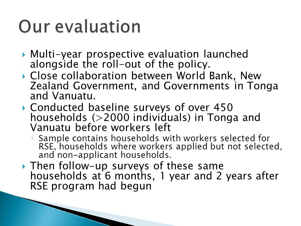  Multi-year prospective evaluation launched alongside the roll-out of the policy.
