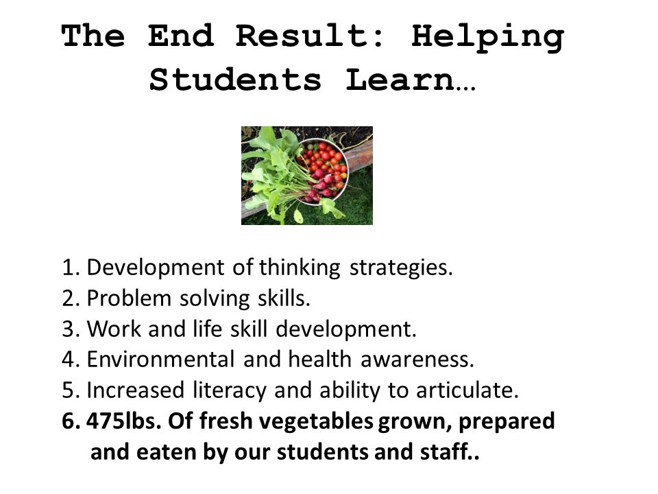 The End Result: Helping Students Learn… 1.Development of thinking strategies.