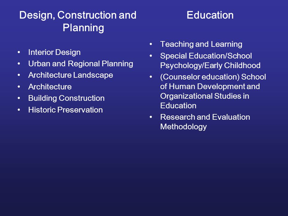 Design, Construction and Planning Interior Design Urban and Regional Planning Architecture Landscape Architecture Building Construction Historic Preservation Education Teaching and Learning Special Education/School Psychology/Early Childhood (Counselor education) School of Human Development and Organizational Studies in Education Research and Evaluation Methodology