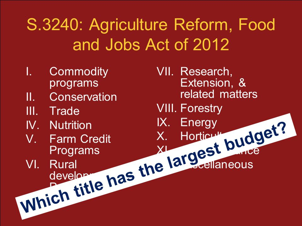 S.3240: Agriculture Reform, Food and Jobs Act of 2012 I.Commodity programs II.Conservation III.Trade IV.Nutrition V.Farm Credit Programs VI.Rural deve