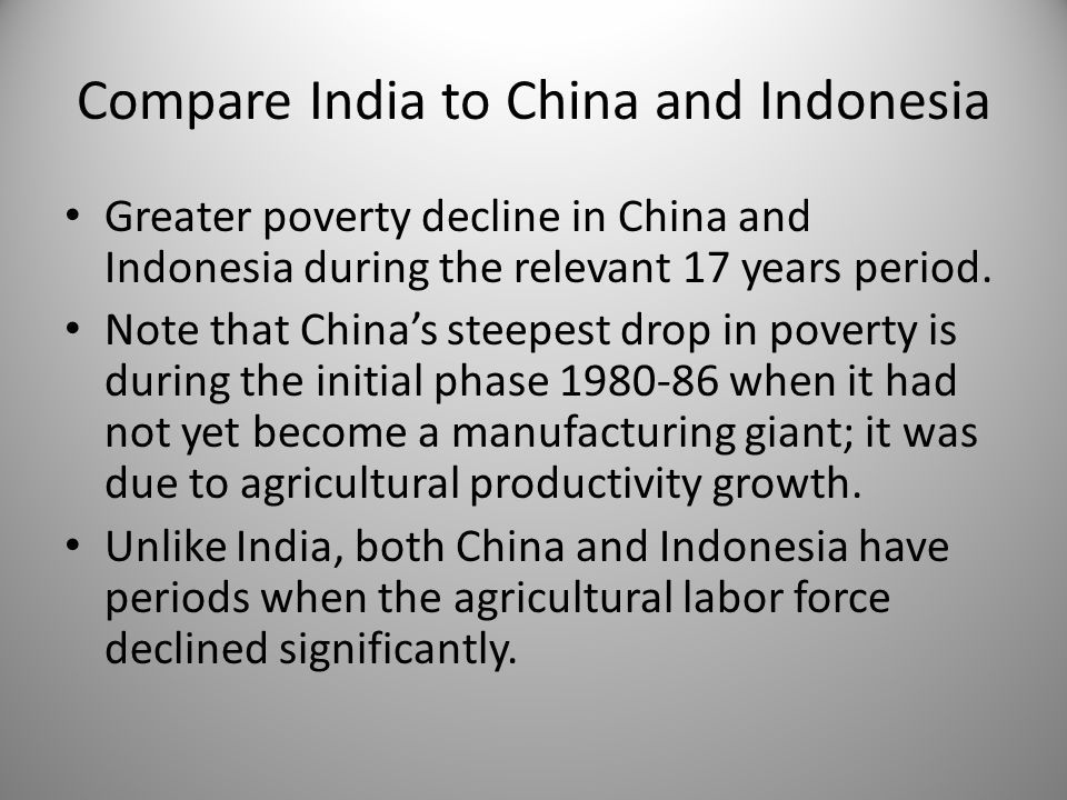 Compare India to China and Indonesia Greater poverty decline in China and Indonesia during the relevant 17 years period.