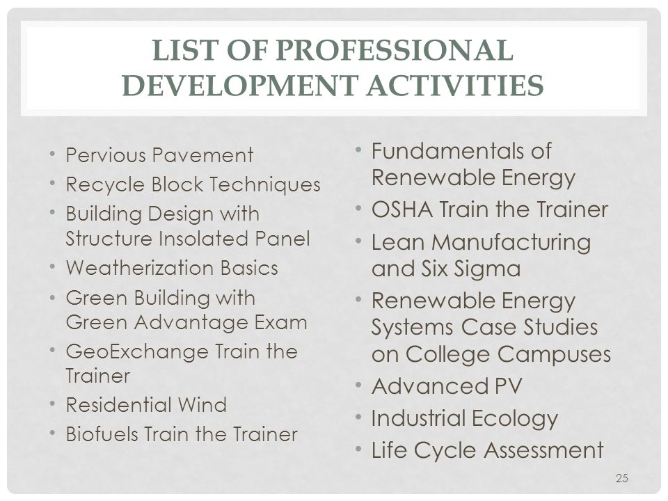 LIST OF PROFESSIONAL DEVELOPMENT ACTIVITIES Pervious Pavement Recycle Block Techniques Building Design with Structure Insolated Panel Weatherization Basics Green Building with Green Advantage Exam GeoExchange Train the Trainer Residential Wind Biofuels Train the Trainer Fundamentals of Renewable Energy OSHA Train the Trainer Lean Manufacturing and Six Sigma Renewable Energy Systems Case Studies on College Campuses Advanced PV Industrial Ecology Life Cycle Assessment 25