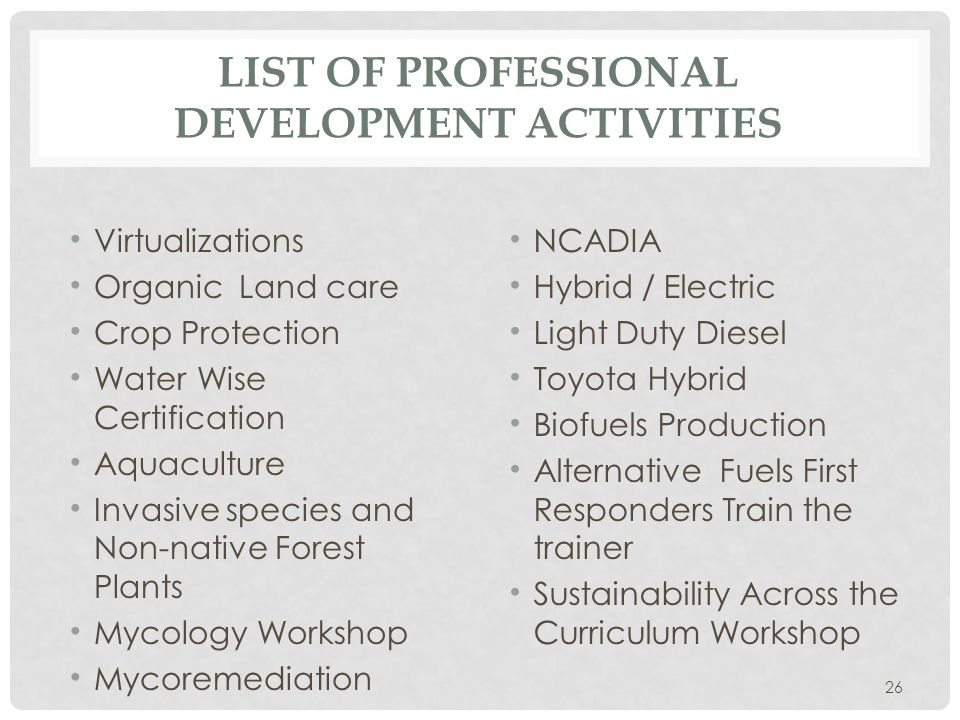 LIST OF PROFESSIONAL DEVELOPMENT ACTIVITIES Virtualizations Organic Land care Crop Protection Water Wise Certification Aquaculture Invasive species and Non-native Forest Plants Mycology Workshop Mycoremediation NCADIA Hybrid / Electric Light Duty Diesel Toyota Hybrid Biofuels Production Alternative Fuels First Responders Train the trainer Sustainability Across the Curriculum Workshop 26