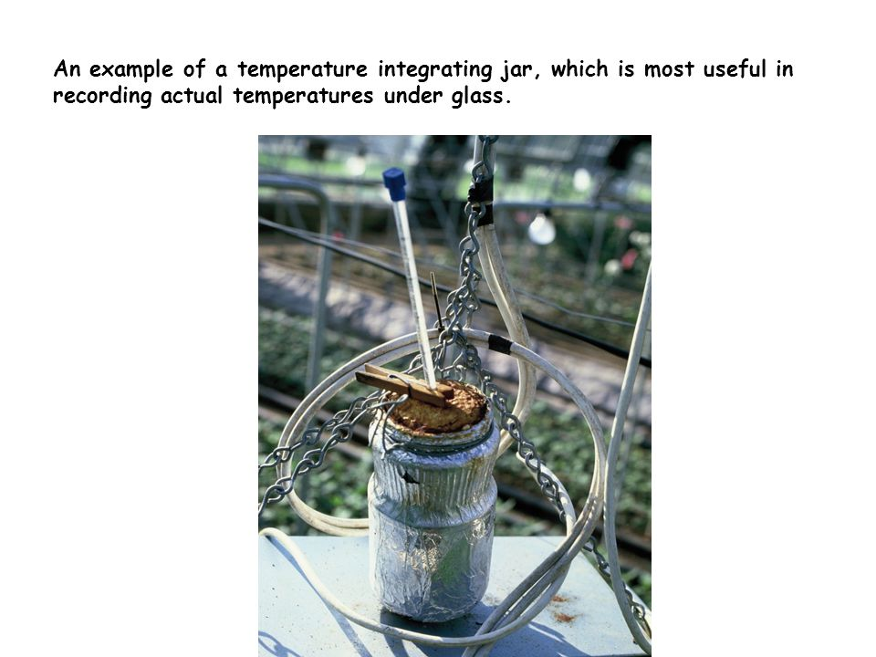 An example of a temperature integrating jar, which is most useful in recording actual temperatures under glass.