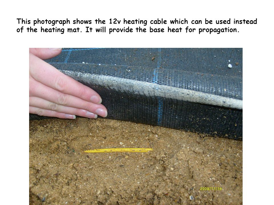 The 12v heating cables positioned on top of sand, above the cables fine grit is added which will distribute the heat from the cables efficiently.