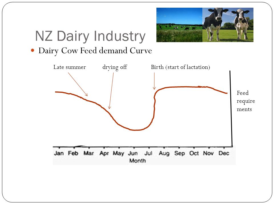 Dairy Cow Feed demand Curve Feed require ments Late summer drying off Birth (start of lactation) NZ Dairy Industry